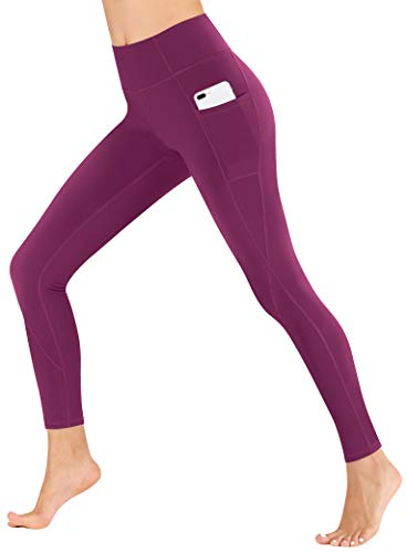 Heathyoga Yoga Pants with Pockets Extra Soft Leggings with Pockets for Women Non See-Through High Waist Workout Leggings Dark Purple
