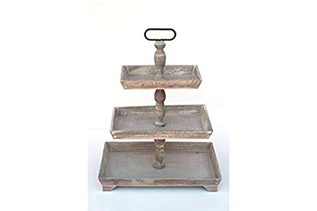 Rustic Wooden THREE Tiered PLATES Serving PLATTER Stand \u0026 Tray - Perfect for Cake Dessert  sc 1 st  Amazon.com & Amazon.com: Rustic Wooden THREE Tiered PLATES Serving PLATTER Stand ...