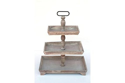 Rustic Wooden THREE Tiered PLATES Serving PLATTER Stand & Tray - Perfect for Cake, Dessert, Shrimp, Appetizers & More, 3 Tier Cupcake Stand, Serving Trays for Parties, Appetizer Platter