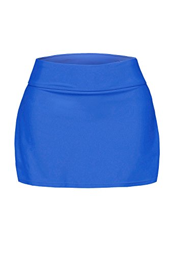 Itsmode Women's Sexy Solid Waistband Swim Skort Bikini Skirt Tankini Bottoms Juniors Swimsuits Blue Small Size by Itsmode (Image #5)