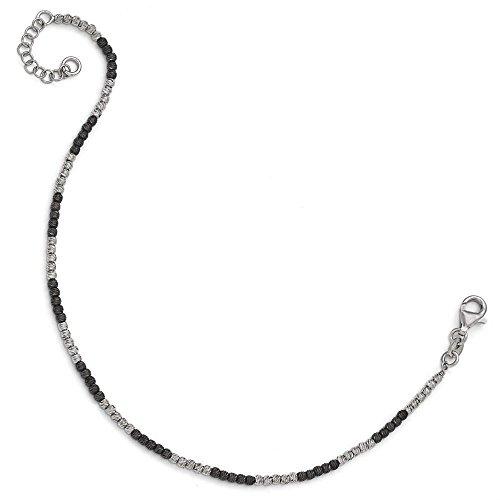 Argent sterling ruthenium-plated Mabelle Bracelet de cheville avec 2,5cm ext-23cm