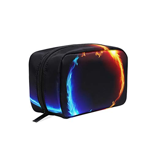 Makeup Bag Cosmetic Pouch Clutch Dragon Ring Circle Ice Fire