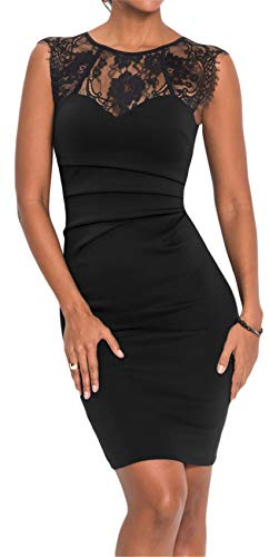 Arctic Cubic Sleeveless Crewneck Floral Lace Spliced Shirred Ruched Mini Bodycon Dress Black M