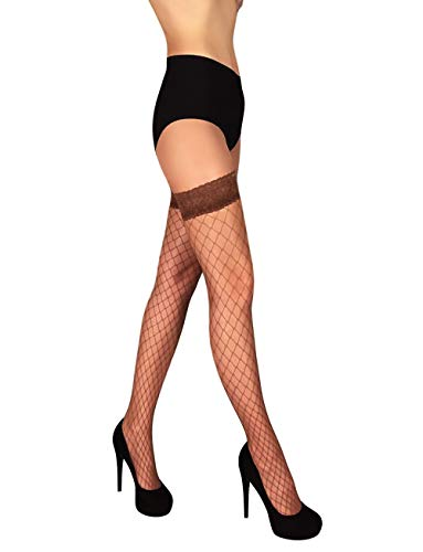 Fishnet Thigh High Stay up Stockings Lace Top Silicone Top Nylon Hosiery (Beige - Grandi, M)