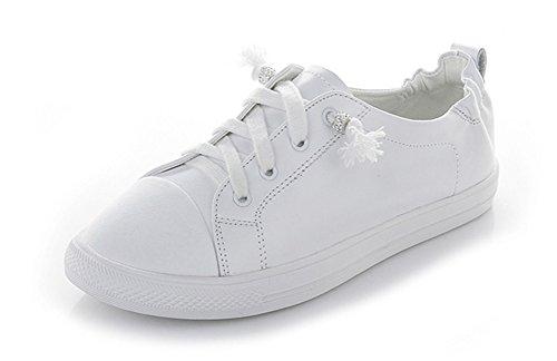 XIE Primera Capa de Verano de Piel de Vaca Zapatos Blancos Calle Beat Ocio Salvaje Pedal Mujeres Embarazadas Cómodos Zapatos Perezosos Zapatos de Estudiante Mujeres 34-39, White, 34 white