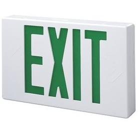 Green Letters Exit Sign - All-Pro Lighting APX7G Exit Sign, Self-Powered, LED, White, Green Letters, 120/277V