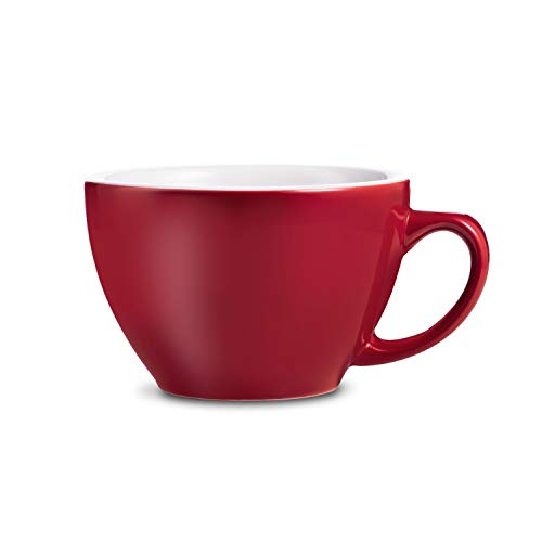 (LOVERAMICS Egg Style Cafe Latte Cup and Saucer, 300ml (10 oz) (Red, 6))