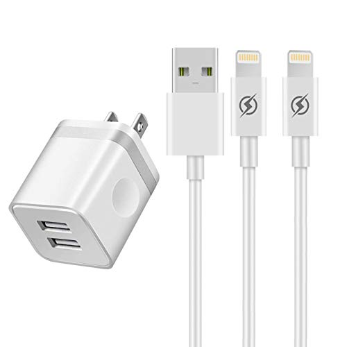 YANME Phone Charger 10ft Cable with Plug (UL Certified), 2 Port USB Wall Charger Adapter with 10 Foot Long Charging Cord Compatible with Phone Xs/Xs Max/XR/X 8/7/6/6S Plus SE/5S/5C, Pad, Pod(3 in 1) ()