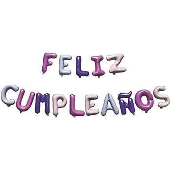 Amazon.com: Feliz Cumpleanos Balloons Banner, Foil Mylar ...