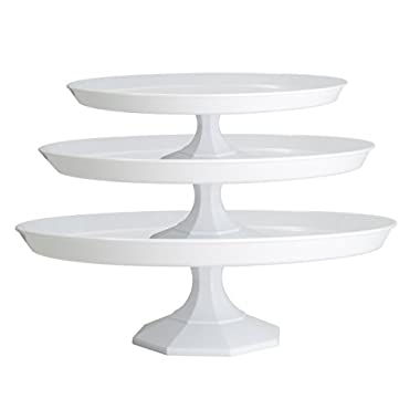 Platter Pleasers Cupcake/Cake Stand - 3 Piece set - Clear/White (White)