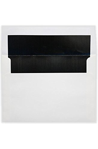 A8 Foil Lined Invitation Envelopes (5 1/2 x 8 1/8) w/Peel & Press - White w/Black LUX Lining (50 Qty.) | Perfect for the HOLIDAYS, Invitations, Greeting Cards and More! |FLWH4885-02-50
