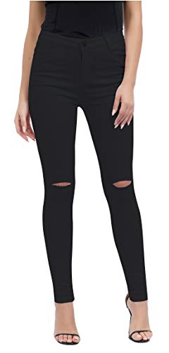 Women's Casual Ripped Holes Skinny Jeans Jeggings Straight Fit Denim Pants (US 12, Black 2) ()