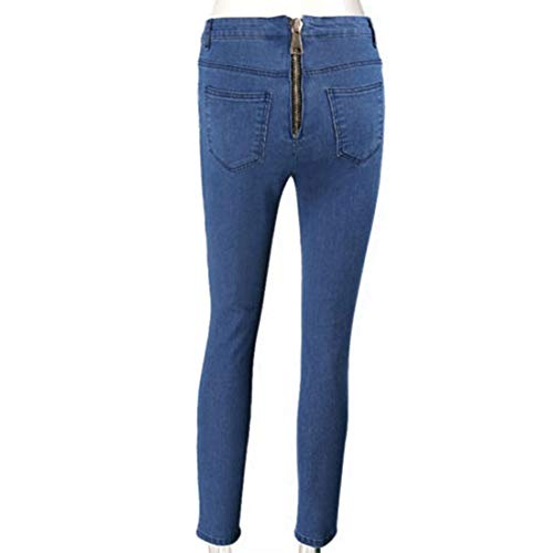Flacos elásticos Mujer Jeans Cremallera Cintura de la Skinny de Slim Fit Blue Alta Trasera w7Haqng7P
