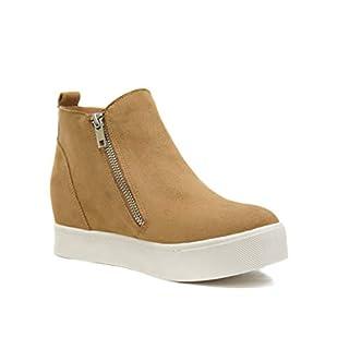 Soda Taylor Hidden Fahsion Wedge Sneaker Shoes Side Zipper (11, Tan)