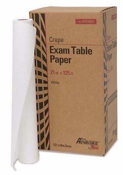 Exam Table Paper, 21'' x 125', White, Crepe