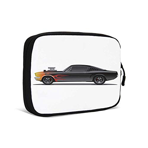 Cars Practical Data Storage Bag,Custom Design Muscle Car with Supercharger and Flames Roadster Retro Styled Decorative for Traveling,9.0