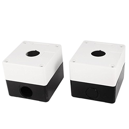 Uxcell a14052600ux0725 22mm Hole Dia Push Button Control Station Box Black White (Pack of 2)