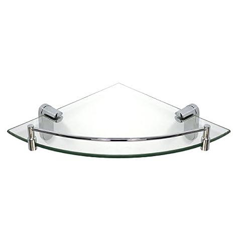 MODONA Corner Glass Shelf with Rail –