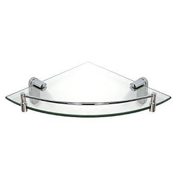 MODONA Corner Glass Shelf with Rail – Polished Chrome – Oval Series - 5 Year Warrantee