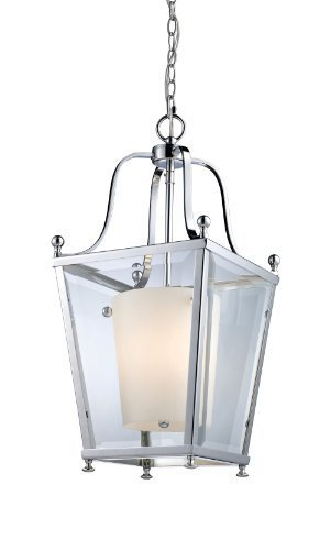 Z-Lite 178-3 Ashbury 3 Light Pendant, Metal Frame, Chrome Finish and Clear Beveled Outside Glass and Matte Opal Inside Glass Shade of Glass Material by Z-Lite Lighting - Pendant Ashbury