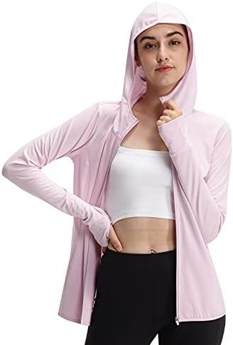 Casei Women Yoga Jacket Ultra -Thin UPF 50+ Sun Protection Hoodie Shirt Long Sleeve Outdoor UV Shirt Running Hiking Jacket