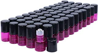 (Glass Roll-on Bottles,60 Pack,1ml(1/4 Dram),Pink Glass Essential Oil Roller Bottles with Stainless Steel Roller Balls & Black Caps,Sample Vials for Aromatherapy/Perfume Liquid Blends-2 Dropper Free)