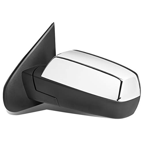 Left Side Powered+Heated Rear View Towing Mirror Chrome for 14-18 Chevy Silverado/GMC Sierra