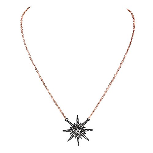 - MUZHE Black Stars Zircon Sun Flower Sea Urchin Pendant Necklace for Women Birthday Gifts