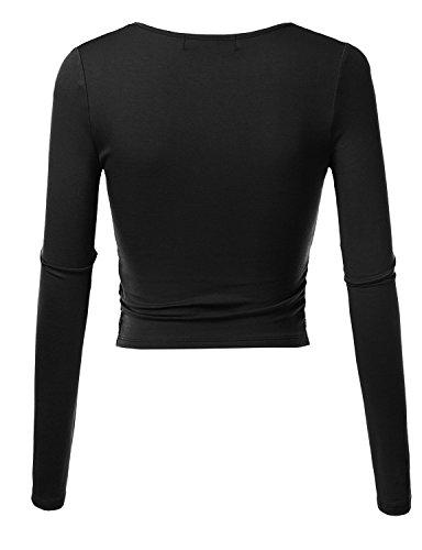 KIRA Women's Deep V Neck Long Sleeve Unique Slim Fit Coss Wrap Shirts Crop Tops - stylishcombatboots.com