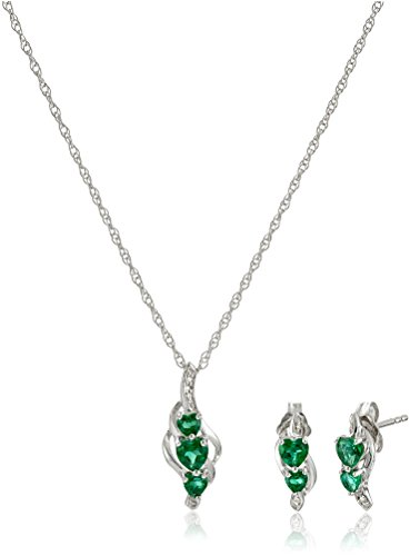 Sterling Silver Created Emerald and Diamond Accent Heart Earrings and Pendant Necklace Jewelry Set, (Diamond Emerald Jewelry Set)