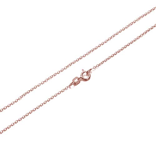 KEZEF Creations Cable Chain Necklace Sterling Silver Italian 1.3mm Rose Gold Plated Nickel Free 18 - Rose Silver Large