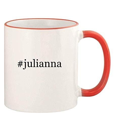 #julianna - 11oz Hashtag Colored Rim and Handle Coffee Mug, Red