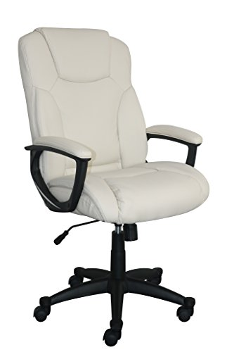 Serta Style Hannah II Office Chair, Bonded Leather, Ivory - Cream Leather Office Chair