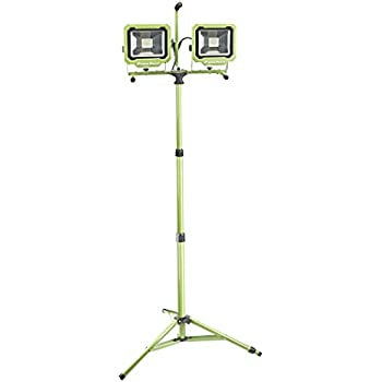 PowerSmith PWL2160TS Dual-Head 60W 6000 Lumen LED Work Light with Detachable Metal Lamp Housing and Metal Telescoping Tripod (9Ft Power Cord)
