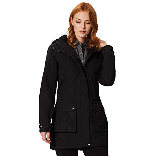 Thermoguard Regatta Fur Insulated Sherlyn Faux Waterproof And Chaqueta Mujer Hooded Negro rtwFtq