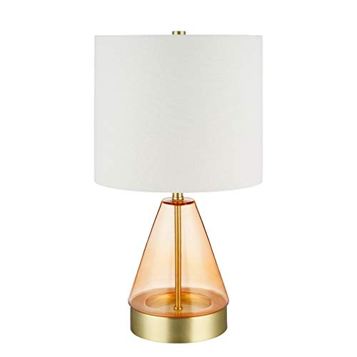 Rivet Smokey Glass and Brass Table Lamp, Modern, with Bulb, 16.63 H, Pink
