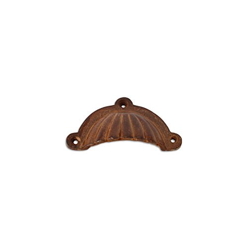 - RCH Hardware Rust Finish Wrought Iron Decorative Drawer Pull Shell Cup, Rustic Country Style Matching Screws Included
