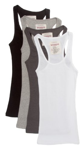 4 Pack Zenana Women's Ribbed Tank Top Small Black, White, Charcoal, H Gray ()