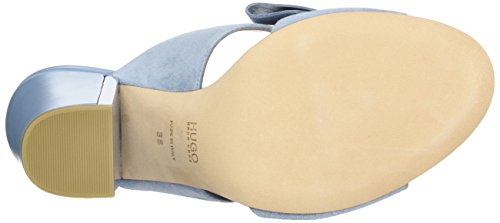HUGO Damen Bow Mule 10197235 01 Offene Sandalen mit Keilabsatz Blau (Light/Pastel Blue 452)