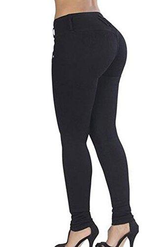 La Mujer Casual Dos Botones Elastico Lavado Distressed Denim Jeans Pantalones De Longitud Completa Black