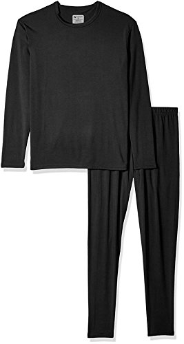- 9M Men's Ultra Soft Thermal Underwear Base Layer Long Johns Set with Fleece Lined, Black, Large
