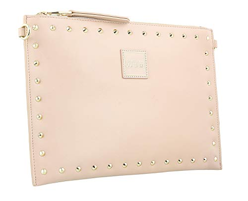 Versace Jeans Couture Powder Pink Gold Tone Studded Medium Pouch Crossbody Bag for womens