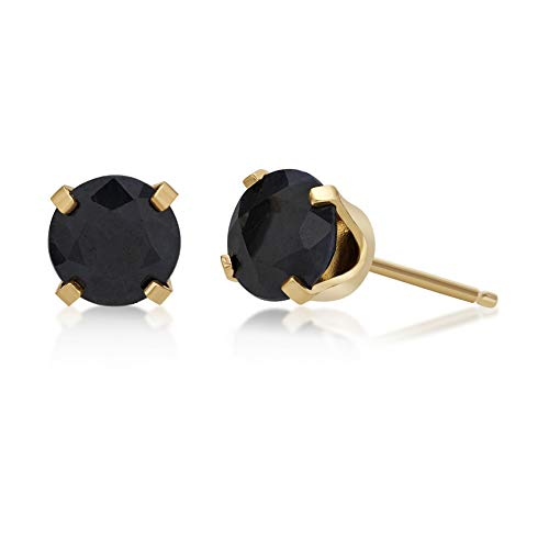 - 1.30 CT Round 5MM Blue Sapphire 14K Yellow Gold Stud Birthstone Earrings