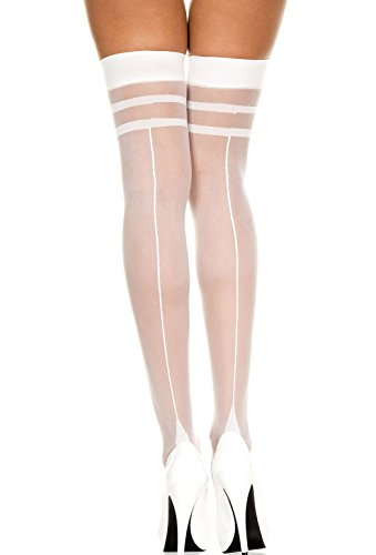 (Women's Sheer Back Seam Cuban Heel Stockings (One Size, White Stripe Top))