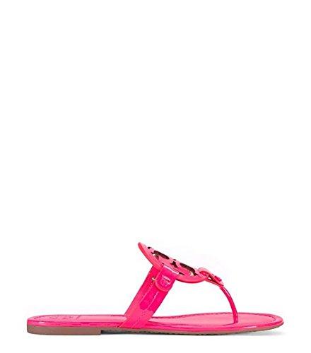 Tory Burch Miller Flip Flop Leather Thong Sandal Logo (8.5, Fluo - Pink Burch Tory