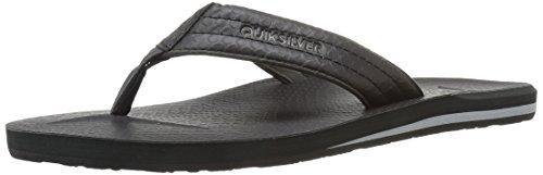 Quiksilver Men's Carver Nubuck Sandal, Black/Black/Grey, 12 M US (Woven Sandals Quiksilver)