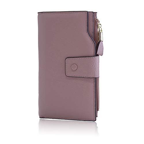 Befen Women's RFID Blocking Luxury Full Grain Genuine Leather Bifold Trifold Wallet Multi Card Organizer Holders for Ladies (Misty Rose RFID Wallet ()