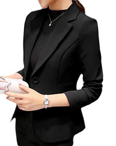 UUYUK Women Wrinkle-Resistant One Button Long Sleeve Work Office Blazer Jacket Black US M