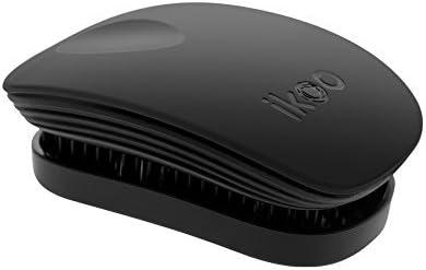 ikoo Pocket Black Classic - Cepillo sin mango desenredante con cerdas suaves, con estilo y funcional. Efecto TCM, vegano, apto para todo tipo de cabello. Caja metálica.