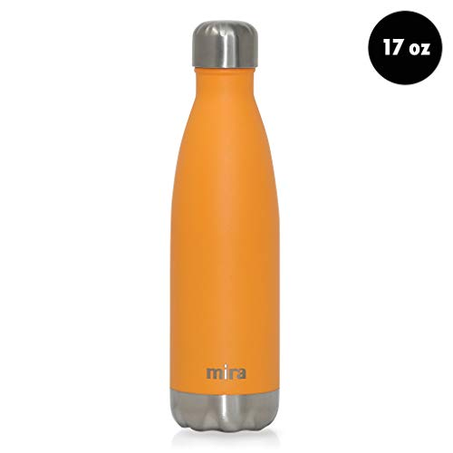 MIRA 17 Oz Stainless Steel Vacuum Insulated Water Bottle - Double Walled Cola Shape Thermos - 24 Hours Cold, 12 Hours Hot - Reusable Metal Water Bottle - Leak-Proof Sports Flask - Pumpkin
